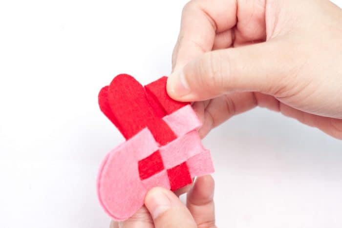 weaving a felt heart