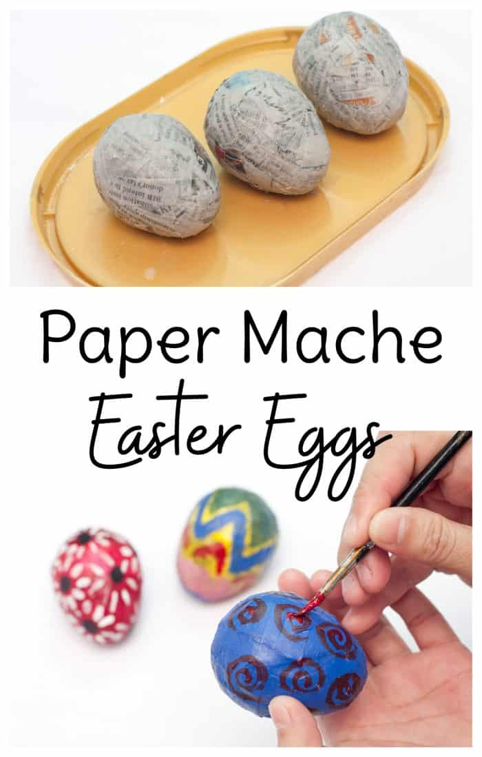 This Easter decorations DIY is a fun Easter craft for kids and adults to make together. Leave your paper mache Easter eggs unpainted for a more understated look, or paint them colorfully with your kids. #easterdecor <a href=