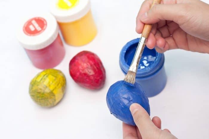 painting paper mache eggs