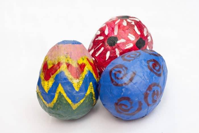 paper mache easter eggs diy