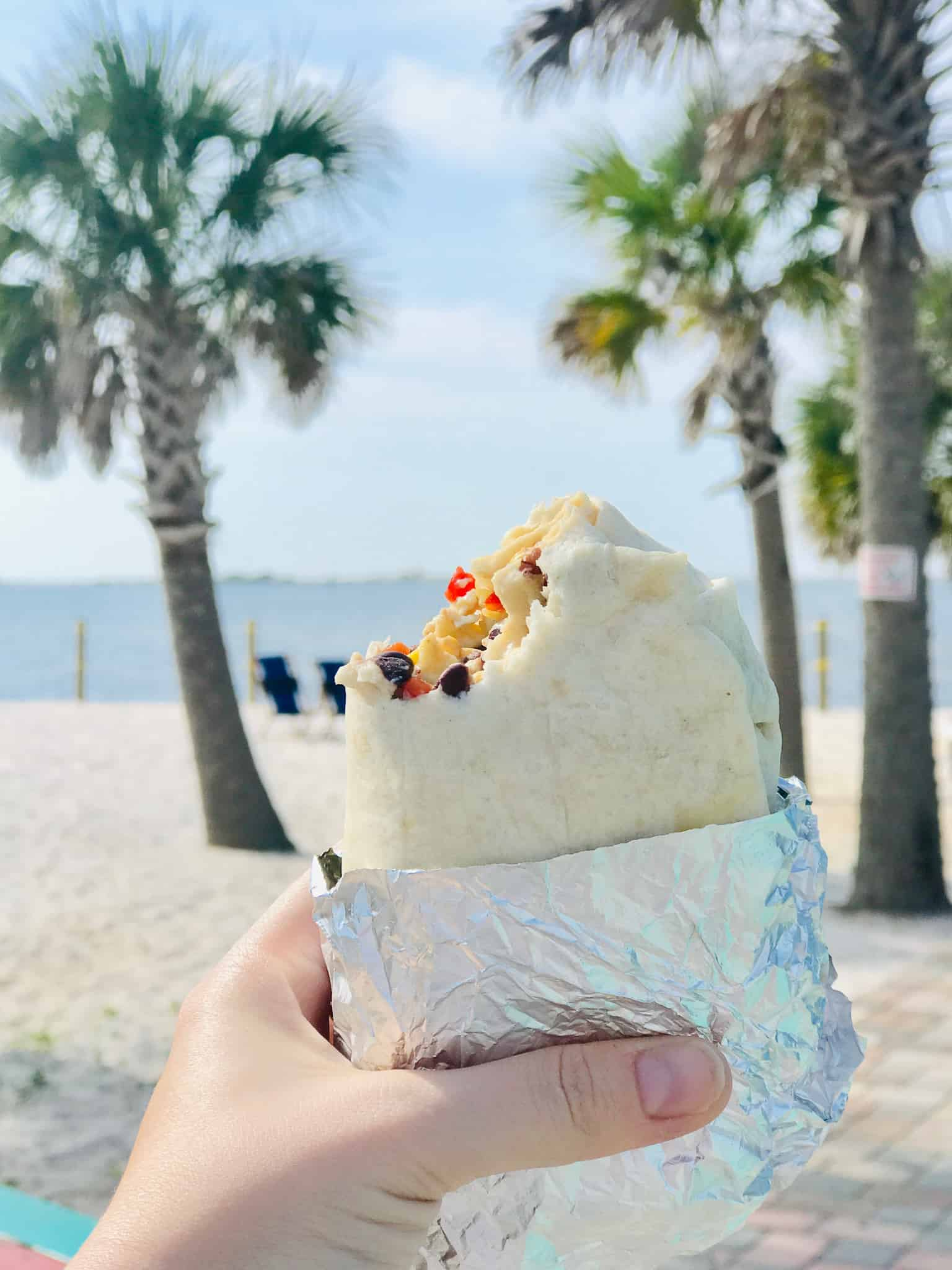 breakfast burrito and palm trees