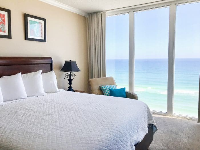 master bedroom of caribbean resort by resort quest by wyndham in navarre beach, fl