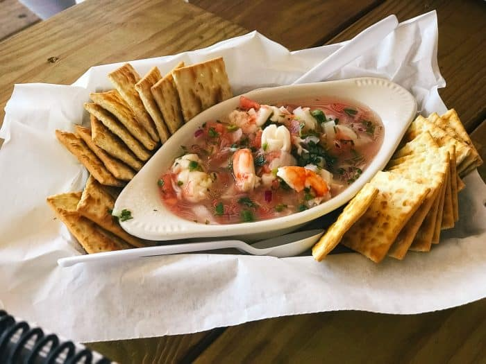 shrimp ceviche with crackers