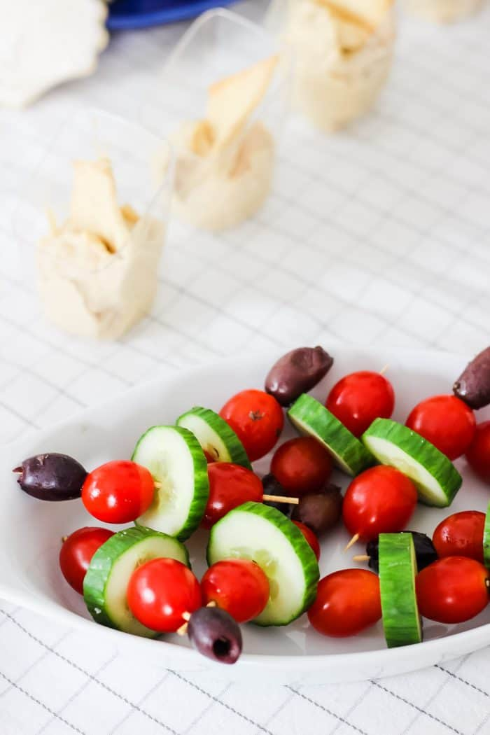 veggie skewers with olives cucumber and tomatoes