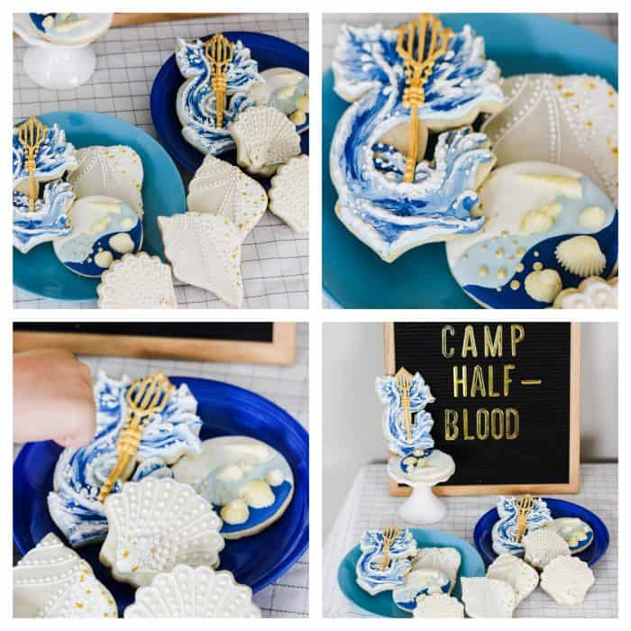 a collage of ocean cookies for a percy jackson birthday party