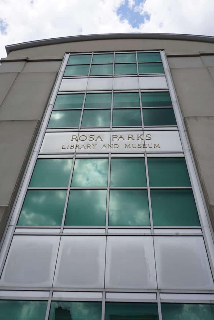 rosa parks museum glass exterior