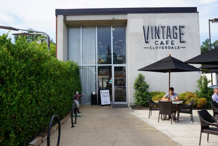view of vintage cafe building