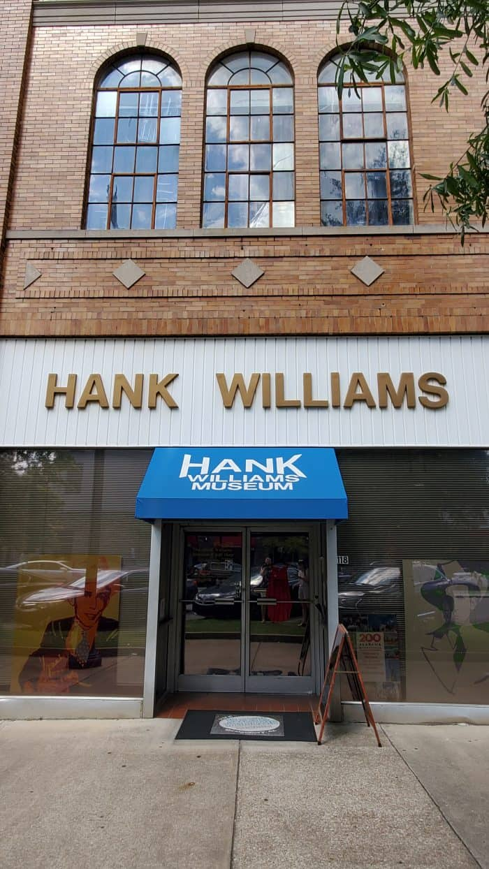 shot of the sign and canopy over the hank william museum