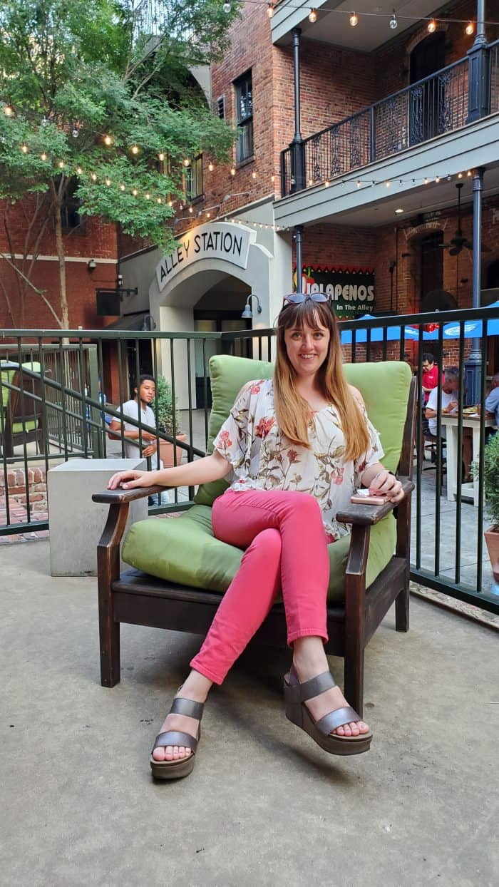 sitting in a patio chair at central montgomery