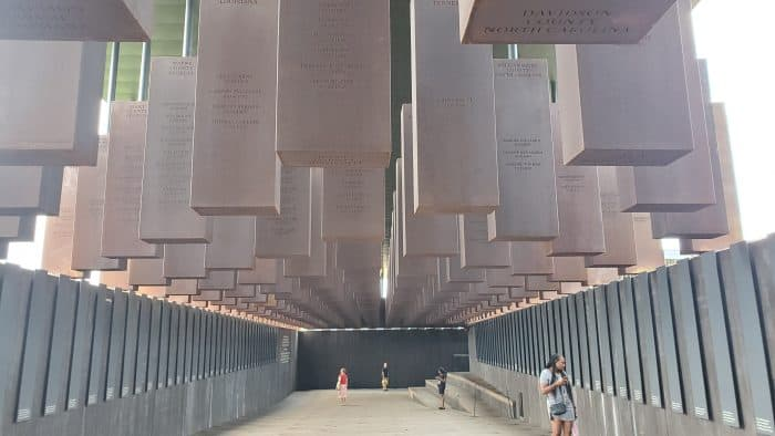 lynching memorial art installation at the national memorial for peace and justice in montgomery alabama