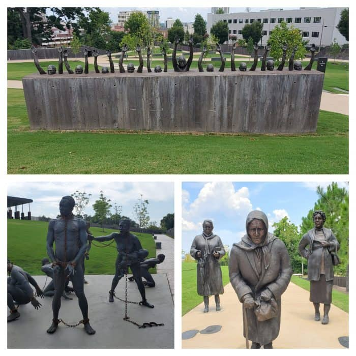 sculptures at the national memorial for peace and justice