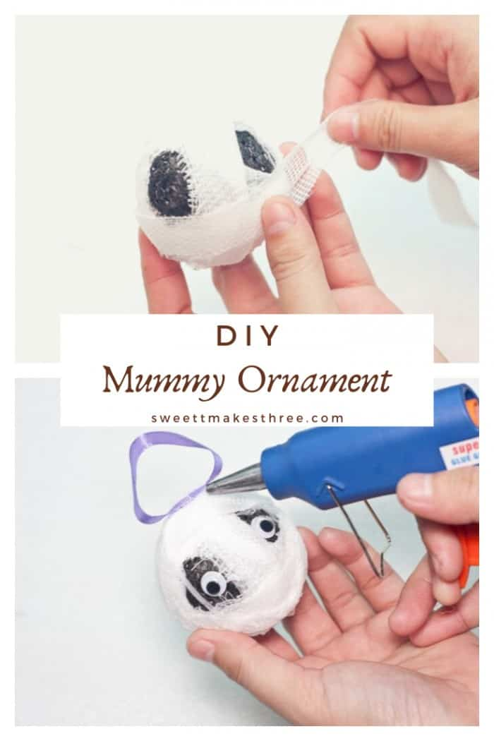 DIY Mummy halloween ornament collage