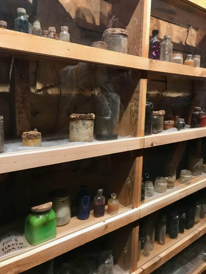 old bottles on shelves