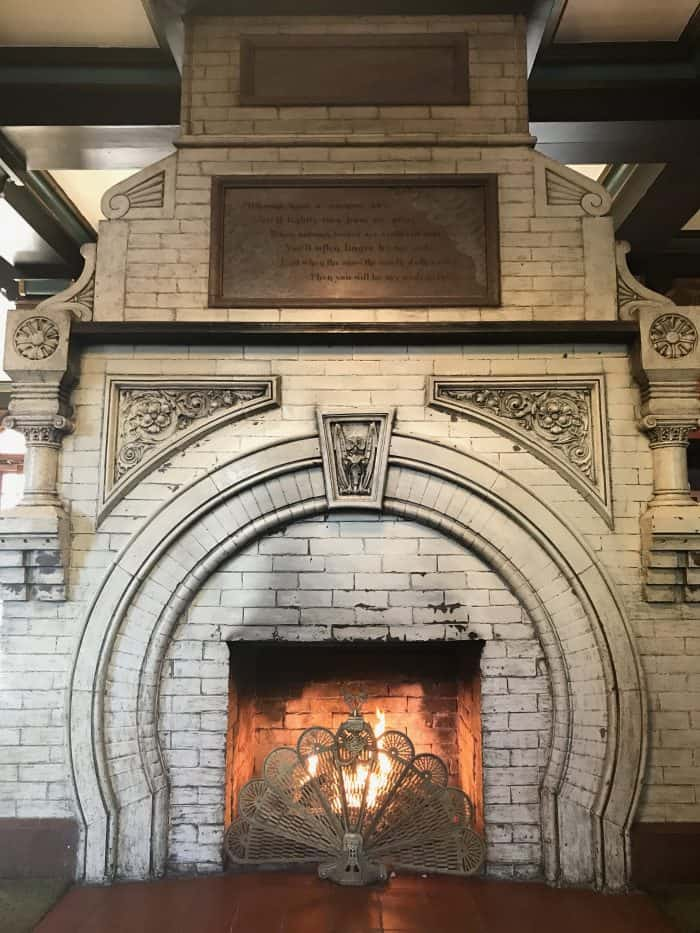 crescent hotel lobby fireplace