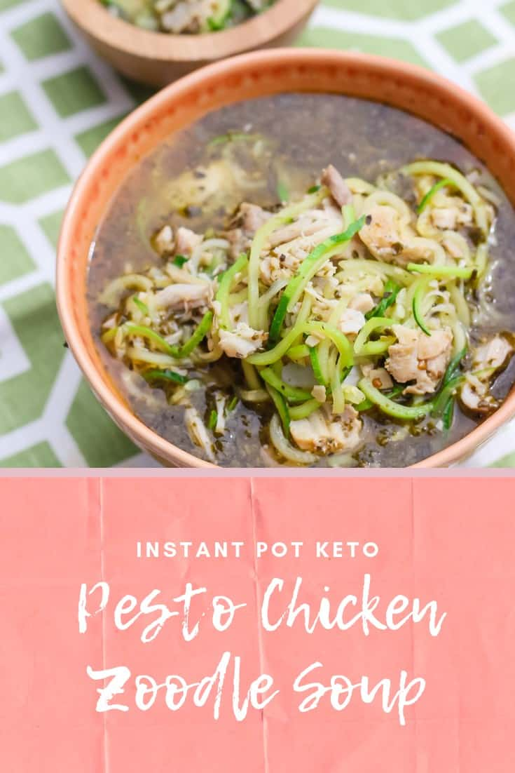 This Keto Instant Pot chicken pesto soup with zoodles is wonderful to enjoy on a fall or winter day. Check out those macros! #ketosoup #instantpot