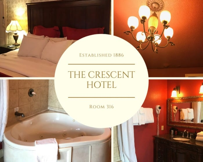 collage of photos from inside room 319 in the crescent hotel