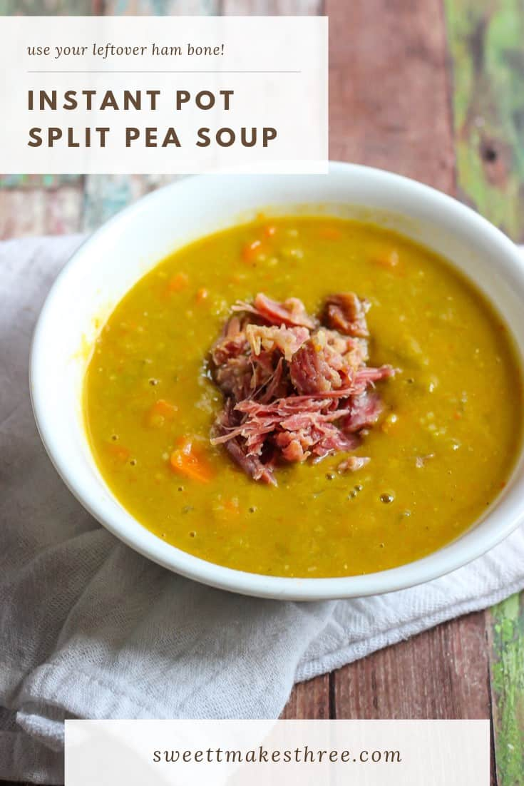 This Instant Pot Split Pea Soup is a great way to use a leftover ham hock (ham bone.) If you don't have one handy, feel free to use chopped ham instead.