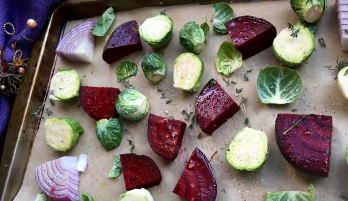 oven roasted beets and brussels sprouts