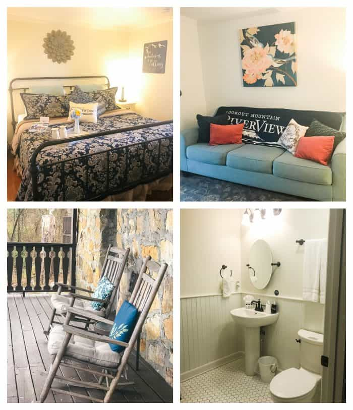 riverview inn room number 10 bed, couch, porch, and bathroom photo collage
