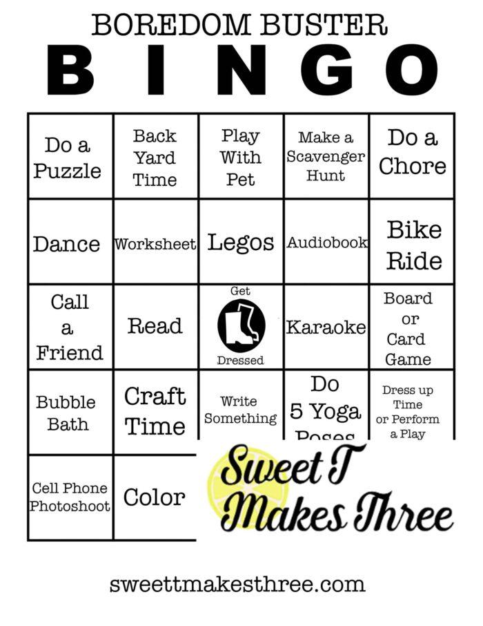 boredom buster bingo