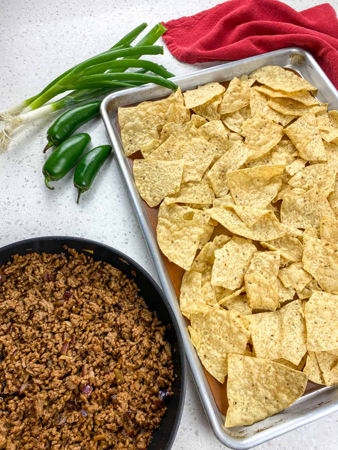 tortilla chips and beef for nachos