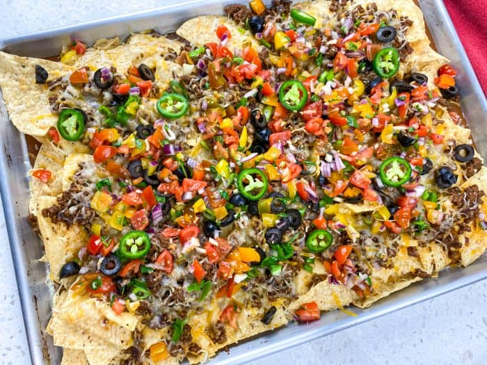 restaurant style beef nachos loaded