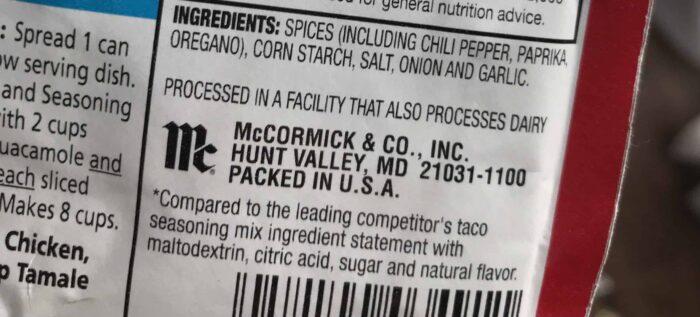 taco seasoning mccormick packet pack
