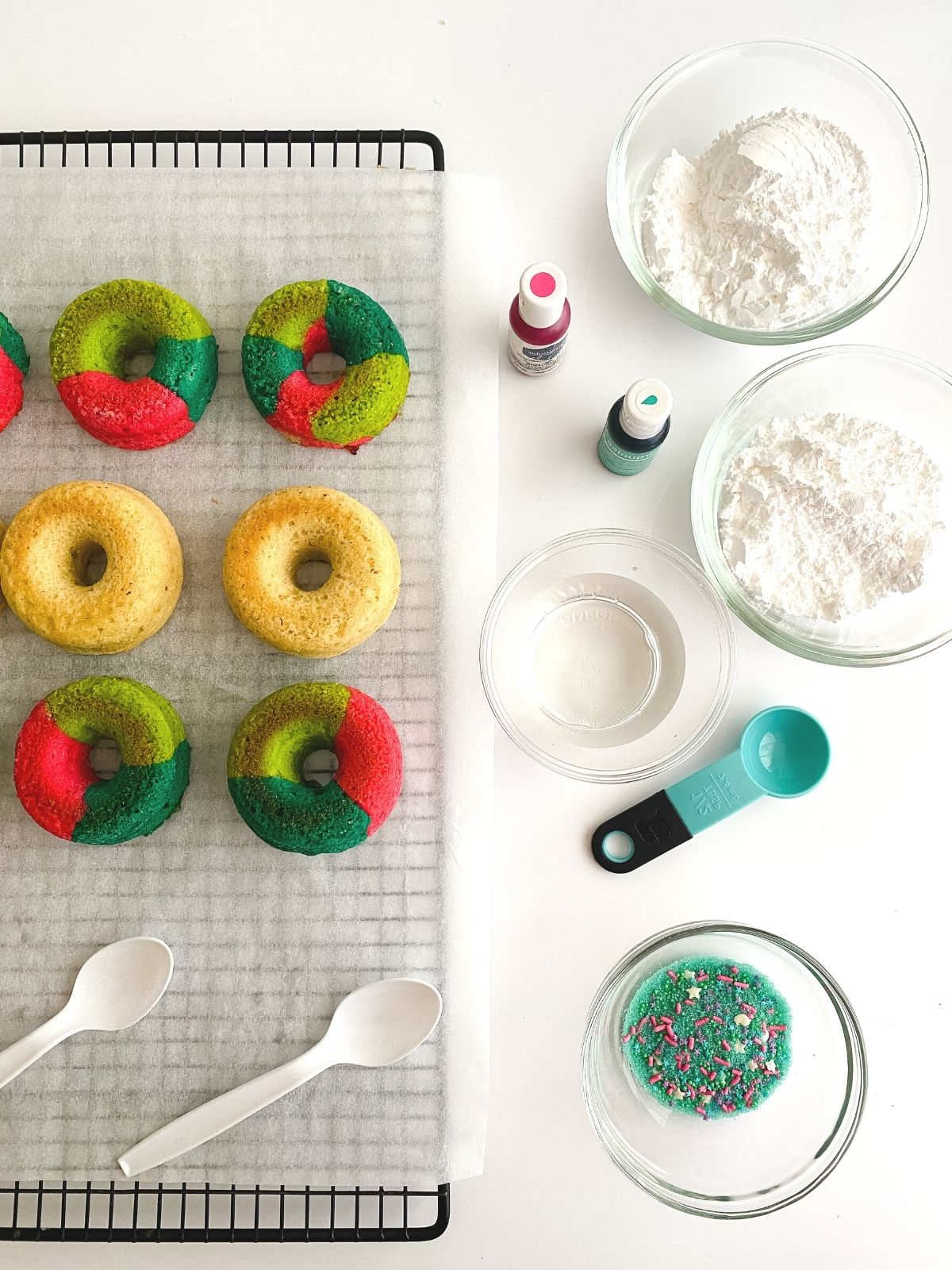 baked unicorn donuts cooling on a cooling rack
