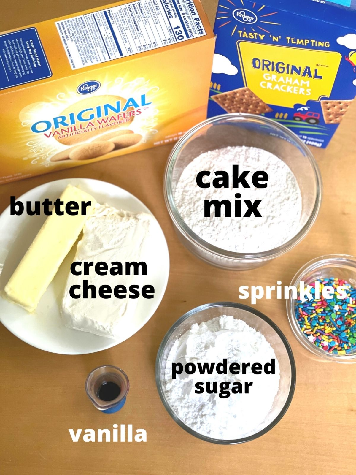 funfetti dip ingredients: butter, cream cheese, cake mix, powdered sugar, and sprinkles.