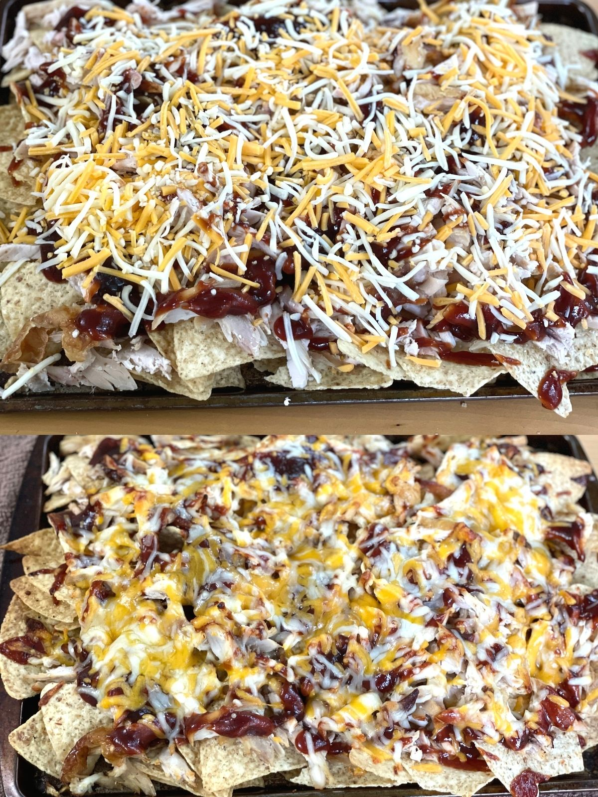 The top picture is a sheet pan of bbq chicken nachos sprinkled with cheese before going into the oven. The bottom photo shows the same pan of nachos hot out of the oven with the cheese melted.