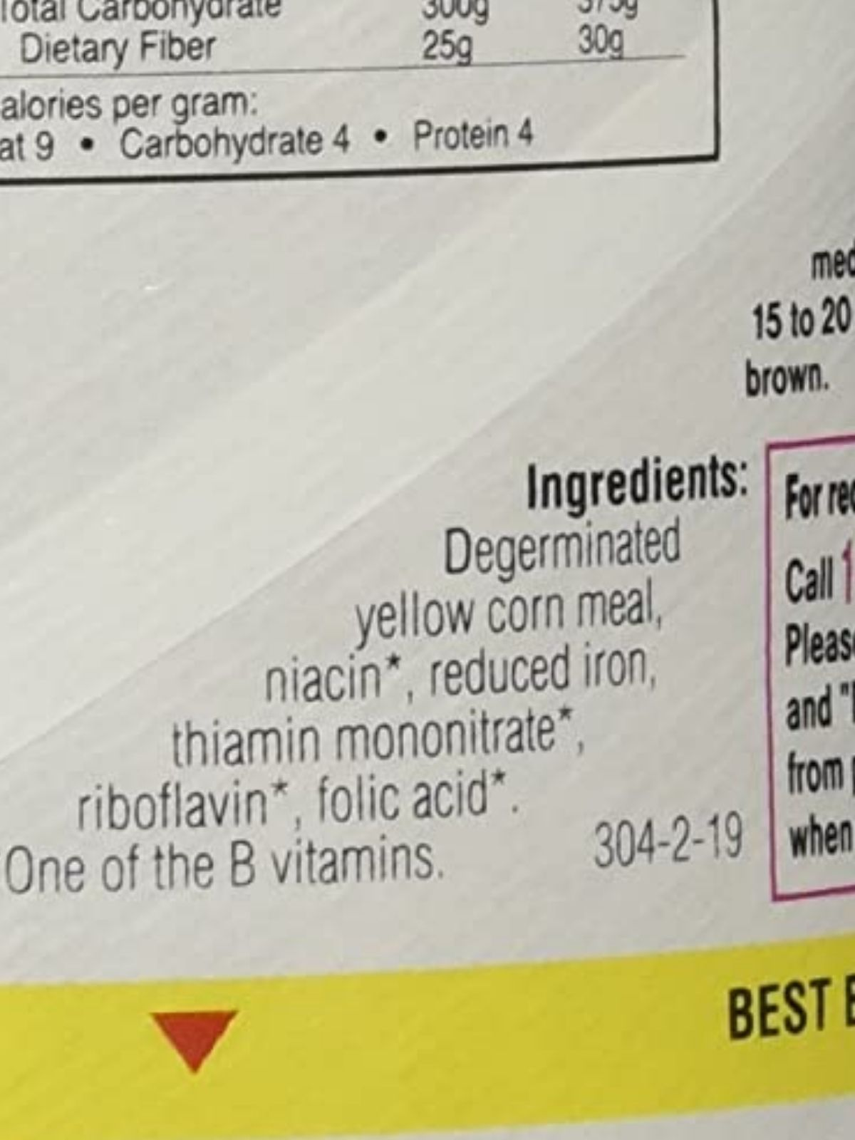 ingredient list on the back of plain yellow cornmeal box.