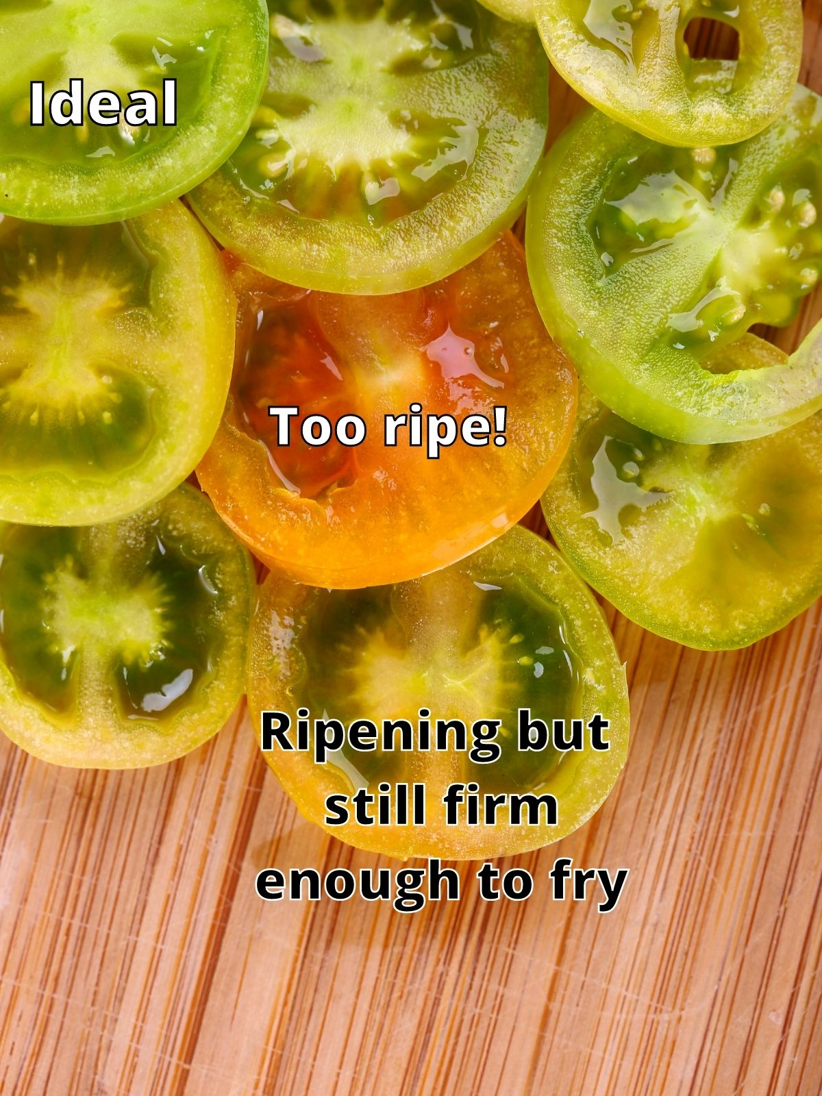 tomato ripeness guide. Green tomato slices are shown along side an orange tomato slice as well as slices that are in between colors.