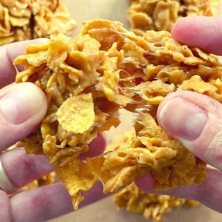Breaking apart freshly made old fashioned cornflake candy
