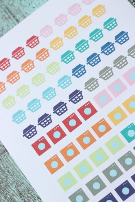 Printable laundry planner stickers for Erin Condren Life Planner.